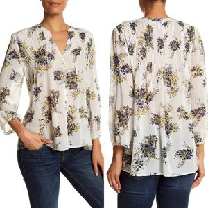 [Joie] 100% Silk Floral Blouse Long Sleeve Pleated